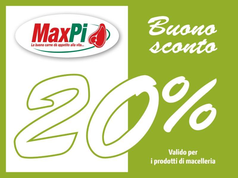 Buono sconto coupon 20% per i prodotti di macelleria MaxPi